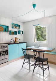 holiday cottage design in denmark with violet and sky blue