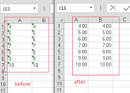 the number in the cell is formatted as text or preceded by an