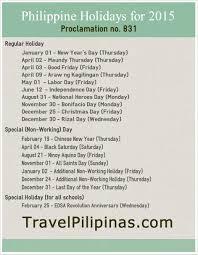 philippine holidays for 2015 travel pilipinas