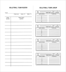 sample baseball roster template blank volleyball roster template