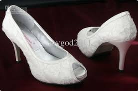 wedding shoes open toe white ivory lace high heel shoes peep toe bridal shoes open
