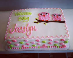baby owl baby shower cake 12 sheet cake with buttercream icing