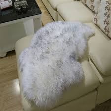 Fur Area Rug Faux Fur Rug Sheepskin Sofa Cover Warm Carpet Seat Pad Plain