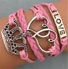 leather charm bracelet ebay images New infinity love heart crown friendship antique silver leather jpg
