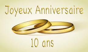 anniversaire mariage 10 ans carte anniversaire mariage 10 ans bague or