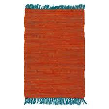 tapis cuisine pas cher petit tapis pas cher tressé plat orange bleu 60x90cm