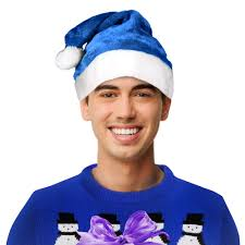 blue santa hat blue plush santa hat unimprintable hats