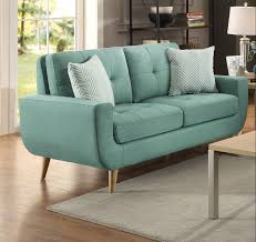 deryn contemporary style mid century modern teal polyester loveseat