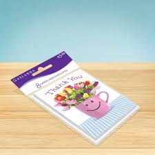 Smiley Flowers - thank you cards 8 pack smiley flowers garlanna greeting cards