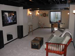 awesome media room coupled with dark basement ceiling ideas and