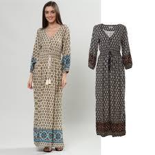 maxi kjole populær maxi kjole med lange ærmer og ornamentalt print mørkeblå