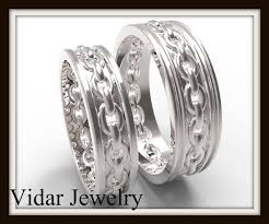 his and hers matching wedding rings his and matching wedding band chain vidar jewelry unique
