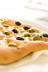 italian olives focaccia bread with olives thyme happyfoods