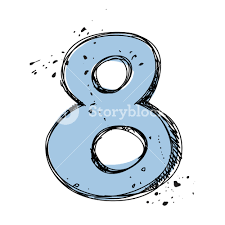number 8 in sketch style vector illustration royalty free stock