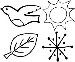 4 seasons bird leaf sun snow coloring wecoloringpage