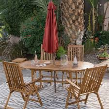 Patio Tablecloth by Coral Coast Summer Acacia Wood 8 Piece Patio Dining Set Walmart Com