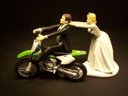 motorcycle wedding cake toppers come back green kawasaki kx 250f dirt bike and groom