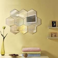 home decor free shipping hexagon mirror style silver removable decal vinyl art wall sticker