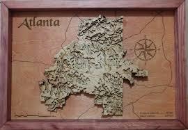 Map Of Atlanta I Made A 3d Topographic Wood Map Of Atlanta Album On Imgur