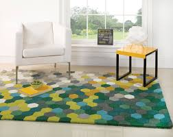 4 X 5 Kitchen Rug Large Thick Modern Contemporary Wool Honeycomb Design Green Yellow