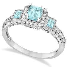 aquamarine and diamond ring aquamarine diamond engagement ring 14k white gold 1 35ct allurez