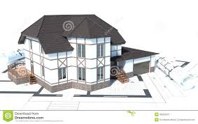 House Drawings by Construction Of Houses Drawings 3d Illustration Stock