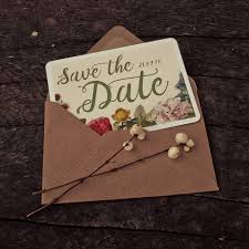 botanical floral themed wedding save the date cards by magik
