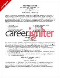 personal trainer resume objective personal trainer resume sle career igniter