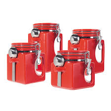inspirational red kitchen canisters set taste