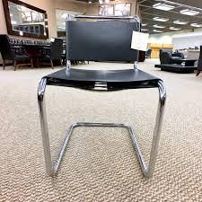 Knoll Office Desk Used Knoll Spoleto Leather Side Chair Black U0026 Chrome Chs9999 431