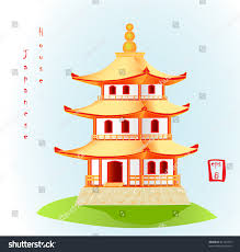 minka traditional japanese house vector illustration stock vector