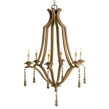 French Wooden Chandelier Accessories Wood Bead Chandelier For Lighting Interior Decoration