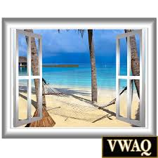 palm trees wall decal peel and stick beach scene 3d window frame palm trees wall decal peel and stick beach scene 3d window frame vinyl sticker wall art mural nw80