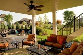 Backyard Living Room Ideas Outdoor Living Room With Ceiling Fan And Firepit Backyard
