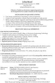 Sample Objective Of Resume by Resume Sample Electronics Engineering Technician