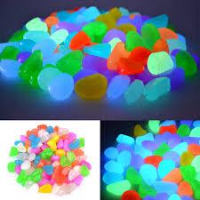 100pcs glow in the dark rainbow pebbles garden walkway aquarium