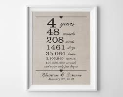 4th anniversary gifts for him 4 years together linen anniversary print 4th wedding