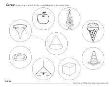 free cone worksheets for kindergartens