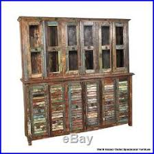79 t glass display cabinet hutch 6 shutter doors reclaimed wood
