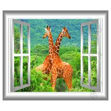 3d window wall decal giraffe african safari wall mural sticker zoom