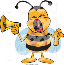 royalty free cartoon of a happy bee mascot cartoon character