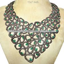 silver emerald necklace images 14k gold pave diamond emerald necklace 925 sterling silver vintage jpg