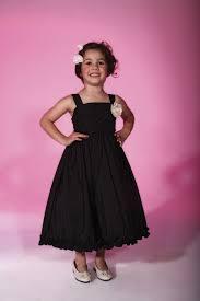 black flower tea length dress