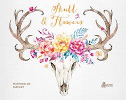skull flowers 2 watercolor skulls with antlers and flowers