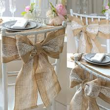 chair bows 100pcs pack burlap chair sash with lace 6 x94 stitched edge