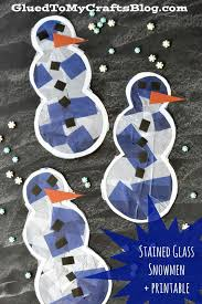 Kids Stained Glass Craft - stained glass snowman free printable kid craft snowman