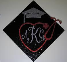 monogram graduation cap custom monogram with heart stethoscope graduation cap topper