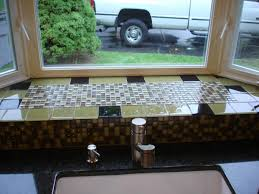 glass mossaic kitchen backsplash behind sink bay window new