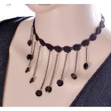 lace black gem pendant ornament necklace n 16 black