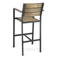 Bar Stool With Back And Arms Black Aluminum Outdoor Restaurant Bar Stool With Arms With